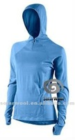 High Quality Fashion Merino Wool Women Long Sleeve Fleece Sport Hoody