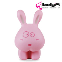 3D night light ABS pink USB charge rabbit foldable led study desk lamp