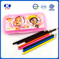 Bulk custom print pink translucent pencil cases for girls with cartoon character Sticker
