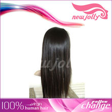 Long natural straight black doll wigs with baby hair