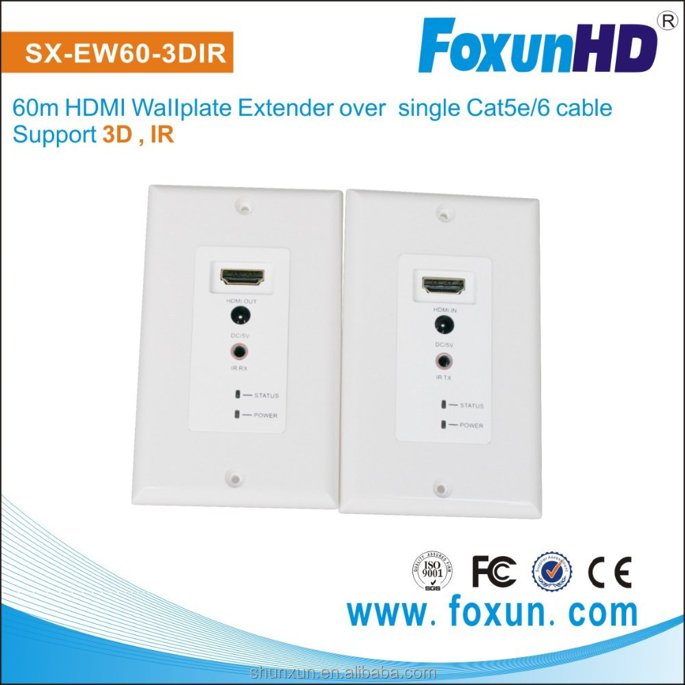 Home Theater System Shunxun/OEM HDMI Wallplate Extender Transmitter and Receiver for Audio/Video Support 3D, ,IR, 60m
