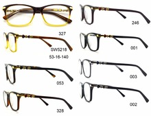 2016 wholesale eyewear frames popular hand made acetate and metal eyeglasses optical frames with diamonds Model SW5218