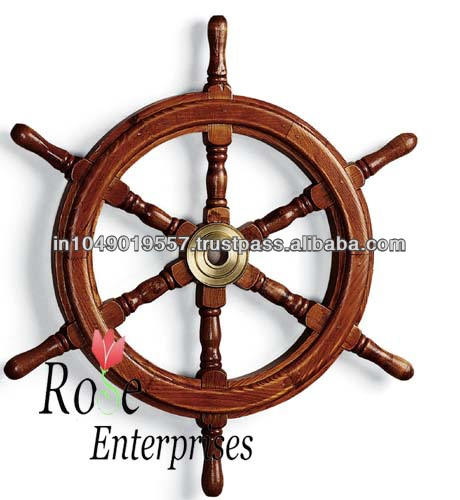 wood nautical ship wheel home decoration Tripod Polished