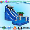 tropical beach marble blue inflatable water slide for kids and adults