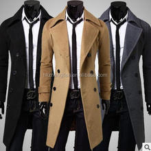 Wholesale men coat jacket New korean style woolen men coat long double breasted men coat 3colors M_XXL