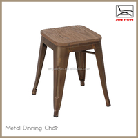 Cheap restaurant furniture small metal stool with wood seat