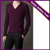 man cashmere knitted v-neck long sleeve wine red color tight pullover sweater