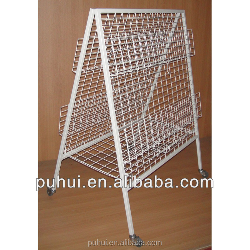 double sides metal wire newspaper display stand with folding structure