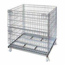 Collapsible folding mesh frame cage for pallet rack with wheels