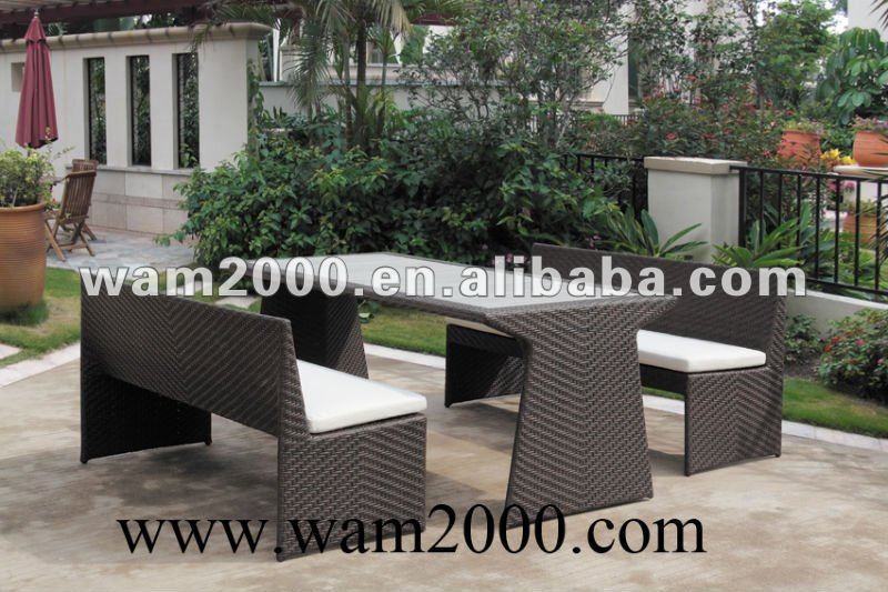 garden rattan dining table and 2 chairs for outdoor