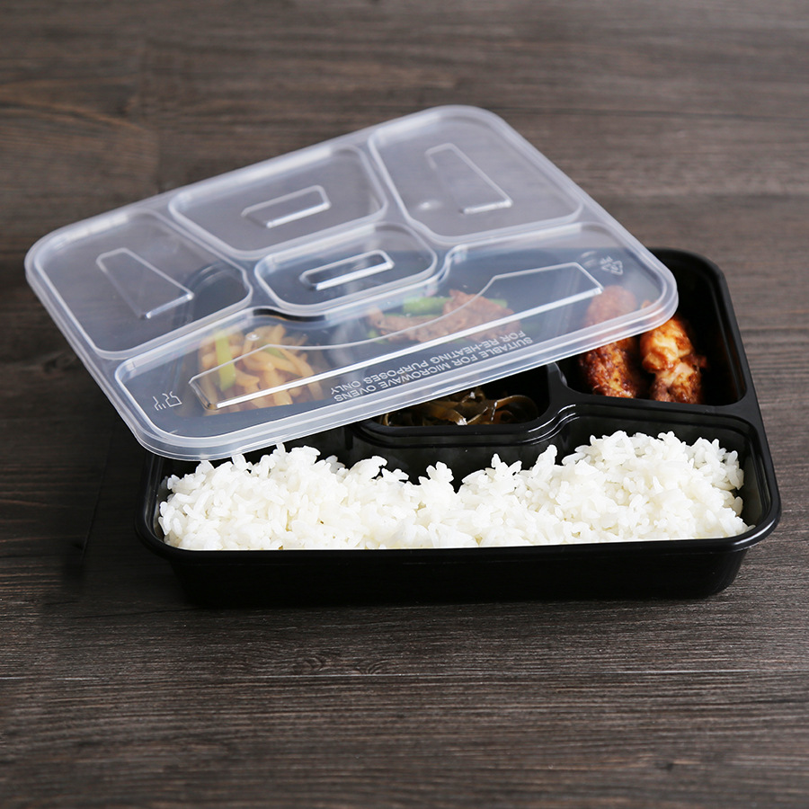 hot sell tiffin box one time use 5 compartment food container