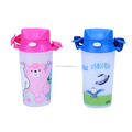 Pop up plastic water bottle for kids with strap