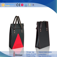 luxury shopping foldable leather storage bag,lunch tote bag