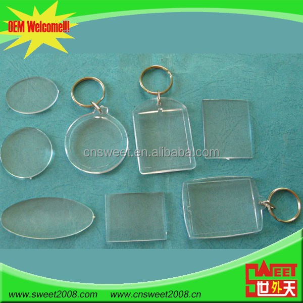 promotional clear custom blank souvenir plastic frame key chain picture insert logo keyring acrylic keychain photo