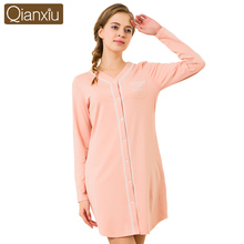 2017 Good Qianxiu Factory Inventory Long Sleeve Ladies Sexy Home Dress Shirt
