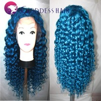 Gorgeous blue lace front wig 180% brazilian virgin hair deep wave human hair wigs bright blue virign hair wigs free shipping