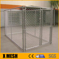 "galvanized chain link fence panel 2"" mesh Enclosure for indoor and outdoor kennel runs."