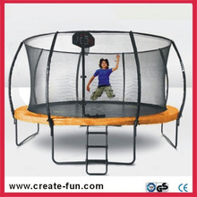 Createfun UV treated large rebounder with trampoline enclosure net and basketball hoop
