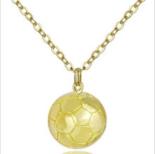 Sporty necklace football Pendant With Chain Stainless Steel Soccer Necklace Gold Color Men/Women sport ball Jewelry