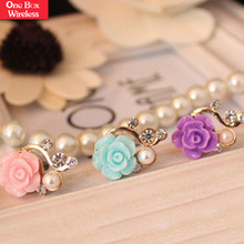 Wholesale New Arrival Colorful Beautiful Rose Flower Shaped PVC Anti Dust Plug for 3.5mm Earphone Jack