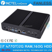 Intel Quad Core i7 4770T 2.5Ghz CPU VGA 2G RAM 160G HDD HTPC Mini ITX PC Computer Fanless PC