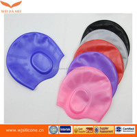 custom colorful nude silicone swim cap for long hair