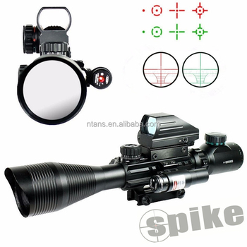 Spike C4-12x50EG 3 in 1 Combo scope with Laser and Red Dot Sight, Dual Illuminated Range Finder Reticle