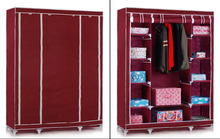 Red Wine Dust-Proof Steel Frame Non-Woven DIY Multi-Purpose Wardrobe/Storage
