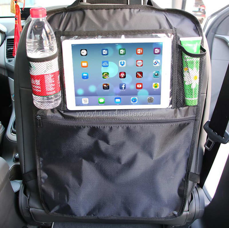 Kids Car Kick Mats Back Seat Car Organizer with Clear iPad Tablet Holder Touch Screen Car Seat Protectors