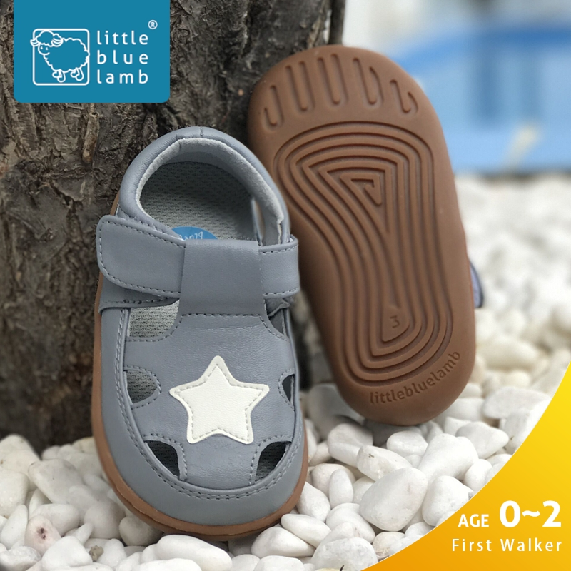 littlebluelamb T-strap grey summer fashion star baby boy sandals shoes