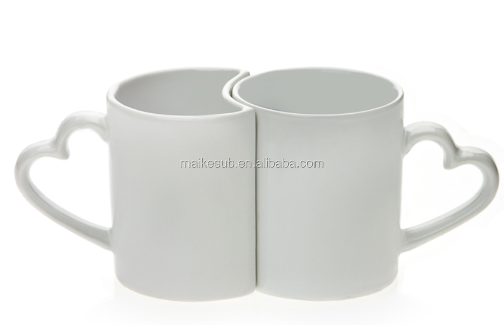 Sublimation heart shape ceramic couple mug coffee mug