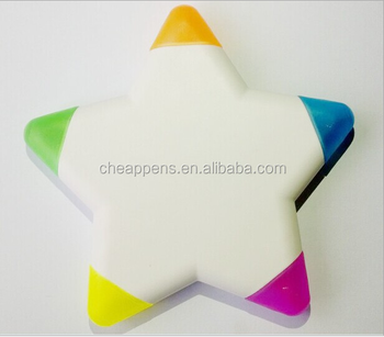 five color star shape highlighter pen, assembly highlighter