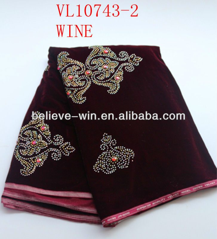fashion style african velvet lace fabric with beads of VL10743-2