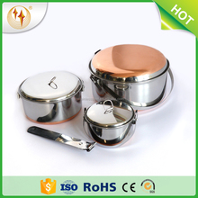 Stainless Steel Copper Bottom Cookware Set Outdoor Camping Pot Picnic Frying Pan