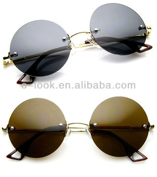 Retro Fashion Frameless Metal Arm Round Circle Sunglasses ...