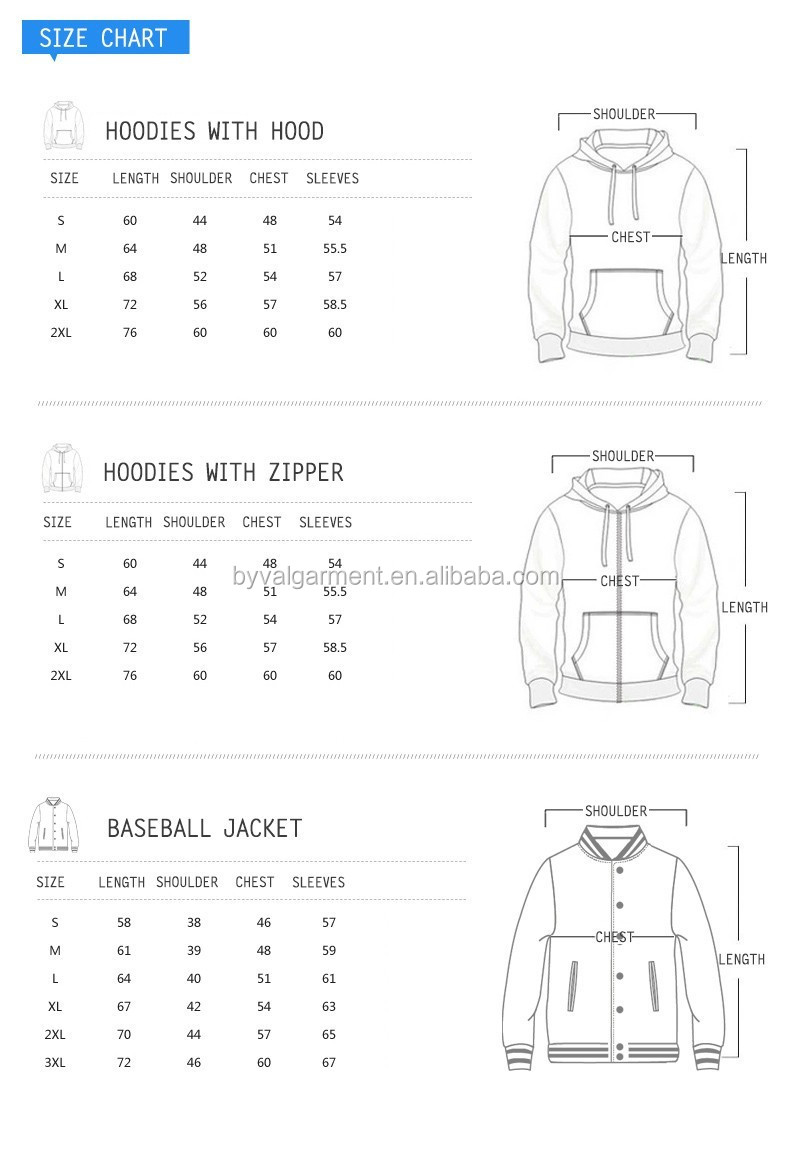 Hoodies size chart from byval