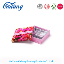 cosmetic paper gift packaging box with two pieces lid and bottom