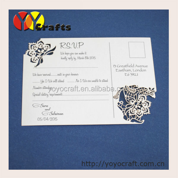 shine paper laser cut paper thank you cards/RSVP cards with envelopes printing service(the color and the size can be customized)
