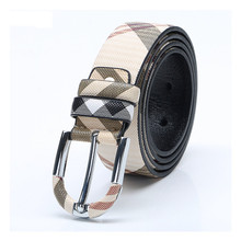 Fashionable Men Plaid Cow Genuine Leather Lather Belts with Leather Covered D Ring Pin Buckle