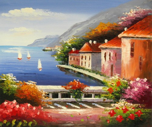 new handmade mediterranean sea scene oil painting on canvas hot sale