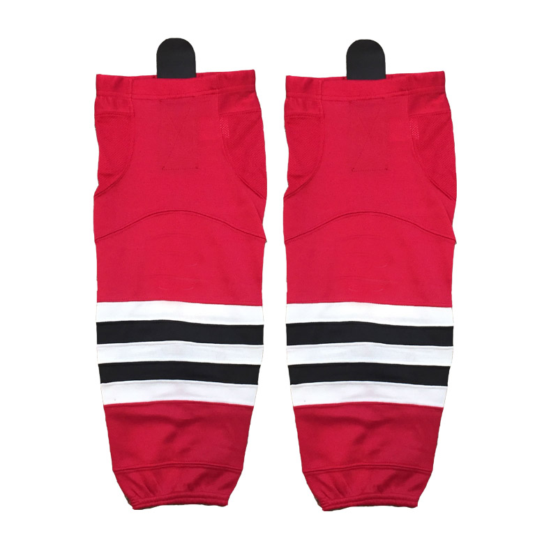 Red chicago <strong>W003</strong> pro 100% polyester mesh fabric ice hockey socks