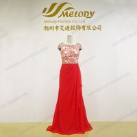 Junoesque beaded embroidery cap sleeve red chiffon train evening dress