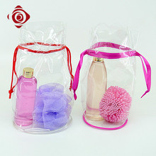 Drawstring clear pvc portable travel plastic toiletry bag
