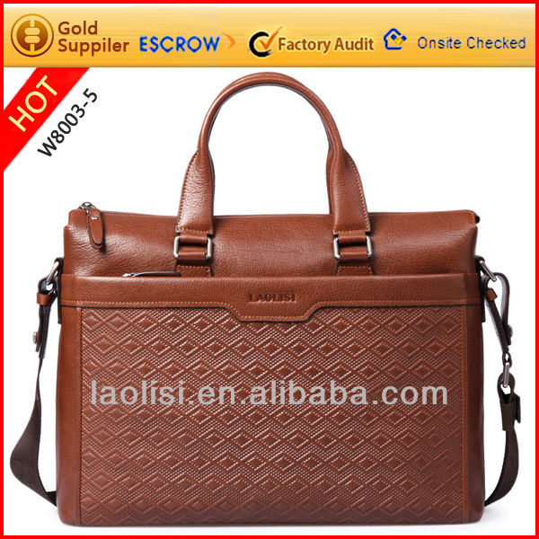 Multifunctional men's genuine leather laptop briefcase