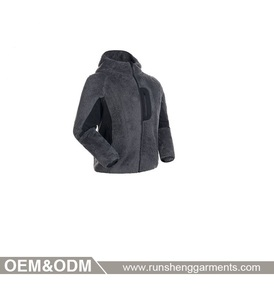 Hot sale clothes 100% polyester wool softshell contrast fleece jacket