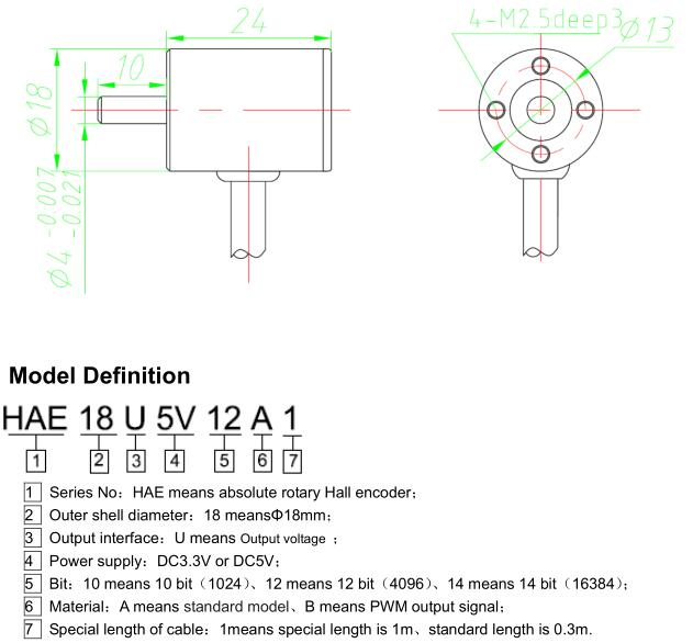 DC5V  4mm Shaft Hall Effect 360 Degree Contactless 12 Bits Angle Sensor
