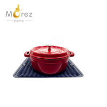 Morezhome high quality Large Dish Silicone Kitchen Sink Mat for Kitchen Counter Dark Grey