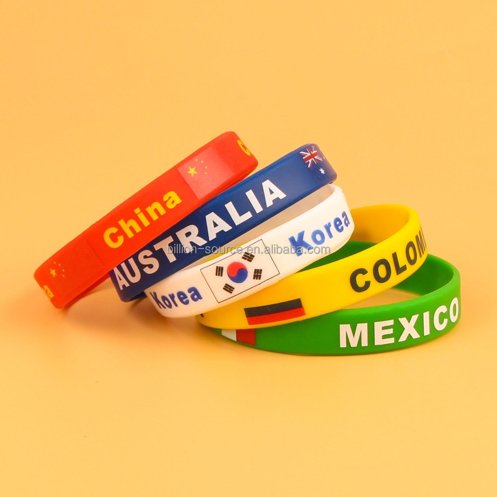 Personalized various color country flags silicone wrsitband bracelet