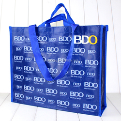Blue full color printing laminated non woven shopping bags