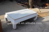 Handcrafted Solid Wood Chinese Vintage Antique White Kang Table Tatami Table
